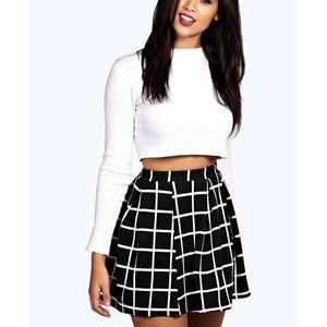 Petite checked box pleated skater skirt